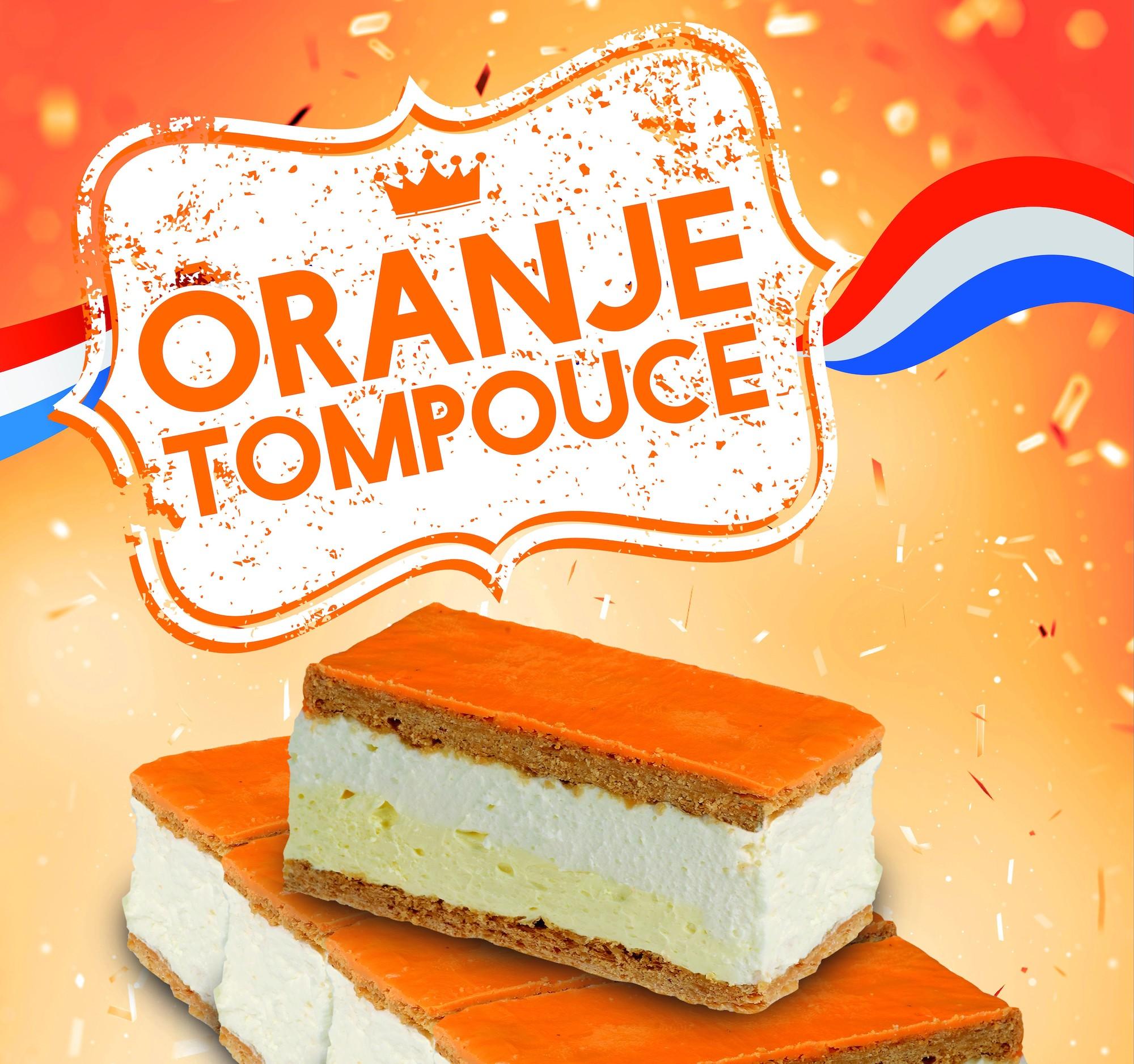 Koningsdag oranje tompoucen bij bakkerij Herman Schepers
