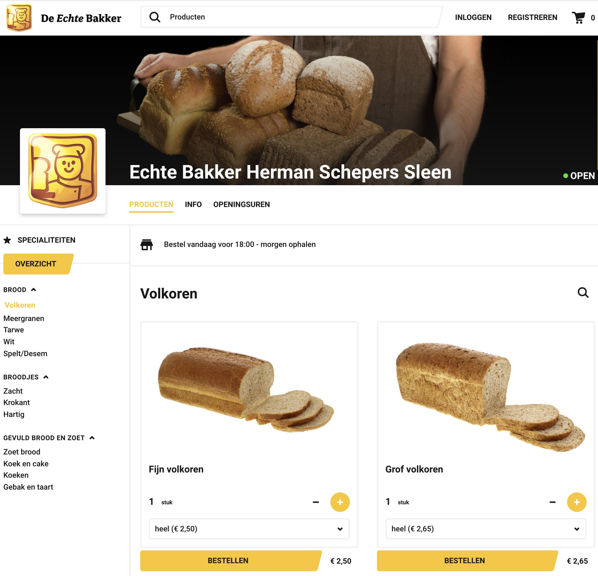 Producten in de webshop